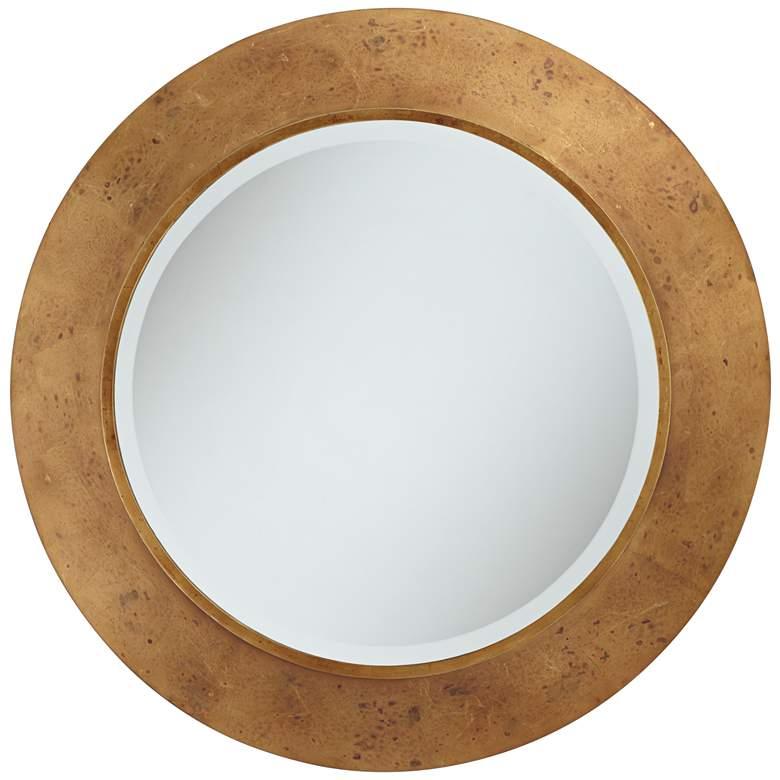 "Uttermost 32"" Round Distressed Antique Gold Leaf Wall Mirror"