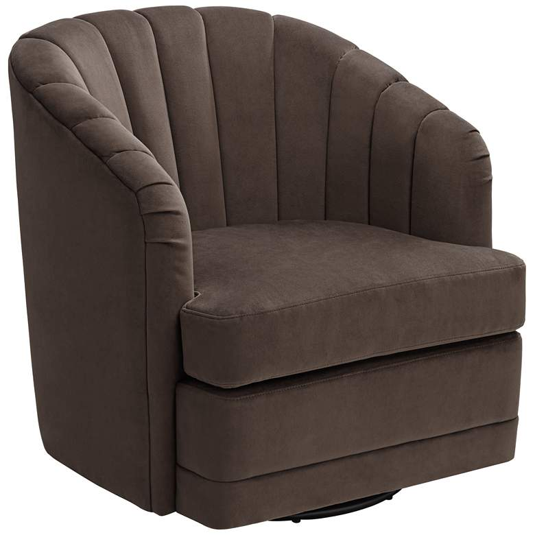 Daphne Chocolate Channel Tufted Swivel Chair