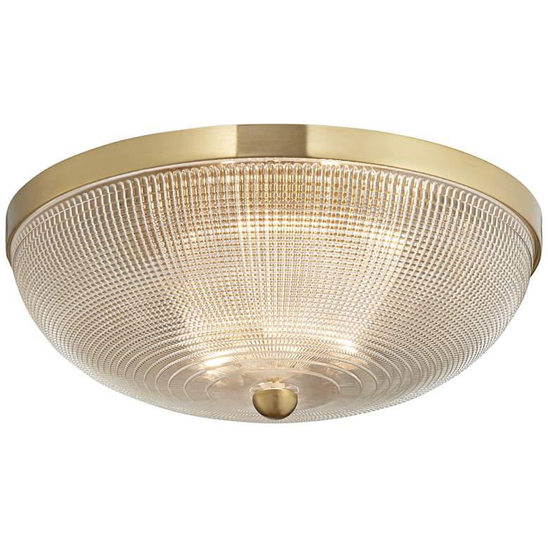 """Possini Euro Caitlin 14"""" Wide Gold and Glass Ceiling Light"""