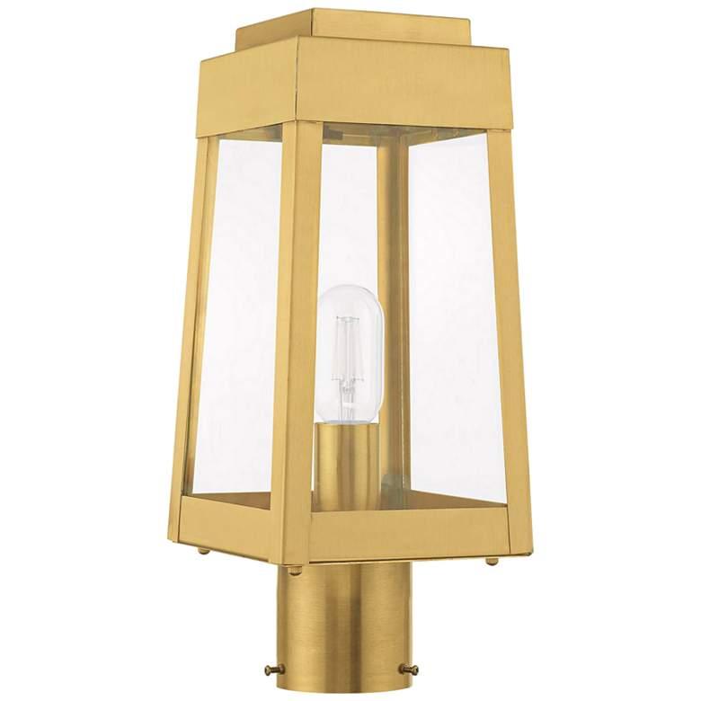 """Oslo 15 1/4"""" High Satin Brass Outdoor Lantern Post Light"""