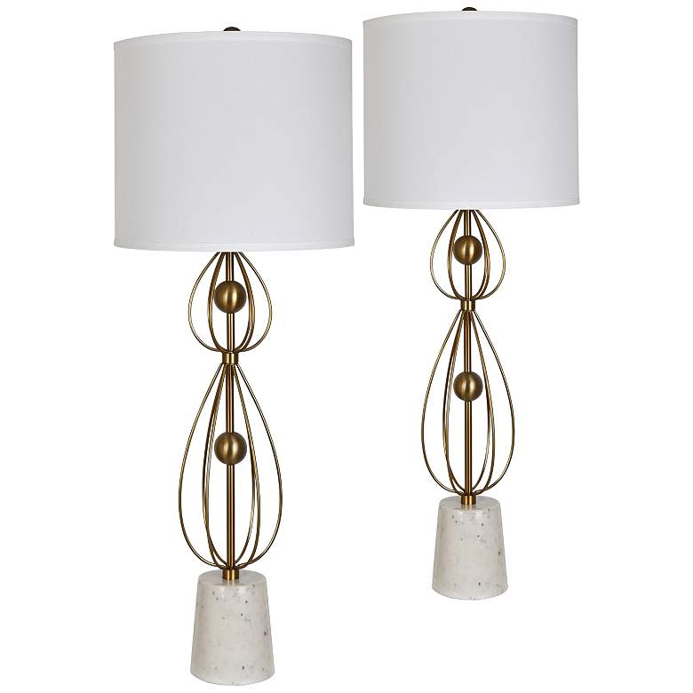 Celester Antique Brass and White Marble Table Lamps Set of 2