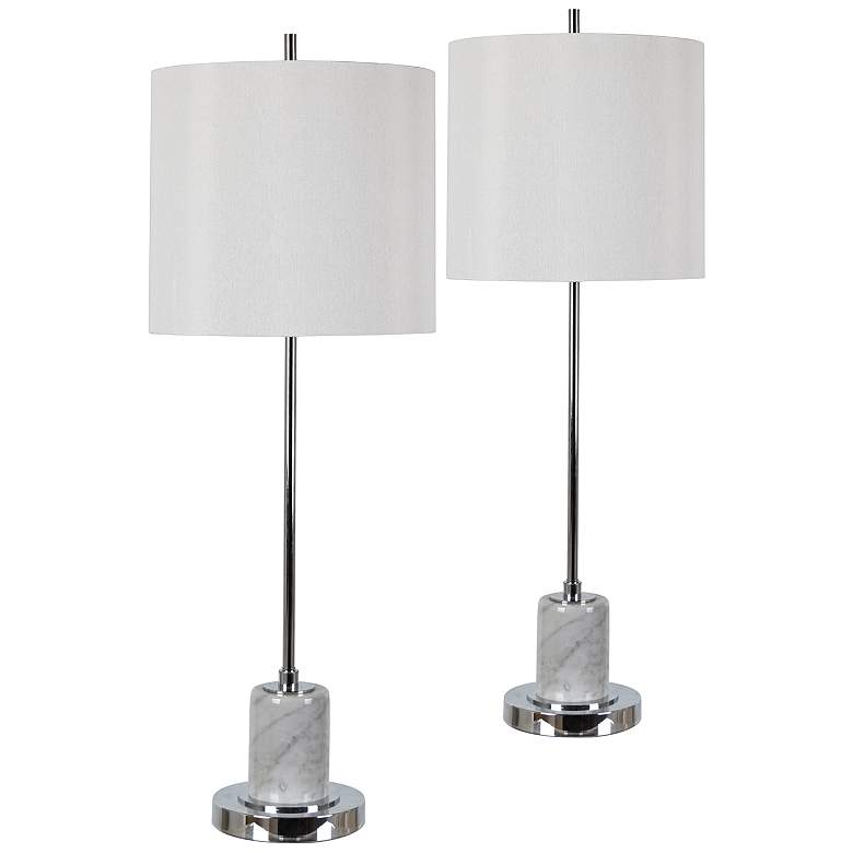 Bingham Chrome and Gray Marble Stem Table Lamps