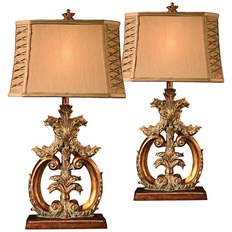 Crestview Collection Aria Sculptural Table Lamps Set of