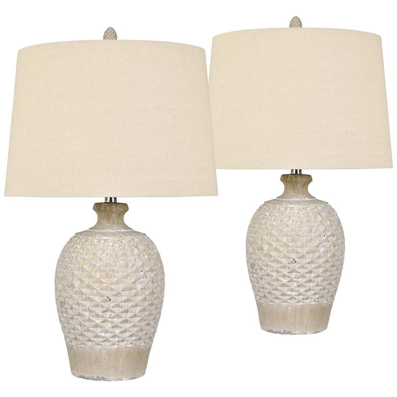 Cabos Beige Ceramic Vase Table Lamps Set of 2