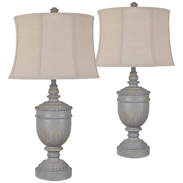 Crestview Collection Drew Gray Urn Table Lamps Set