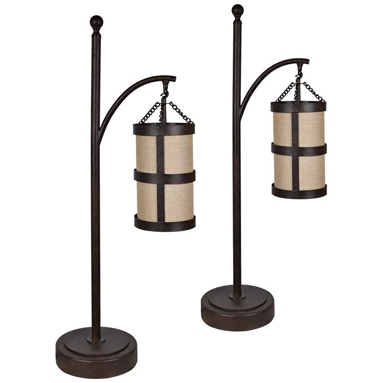 Crestview Collection Tacoma Rustic Iron Desk Lamps Set of 2