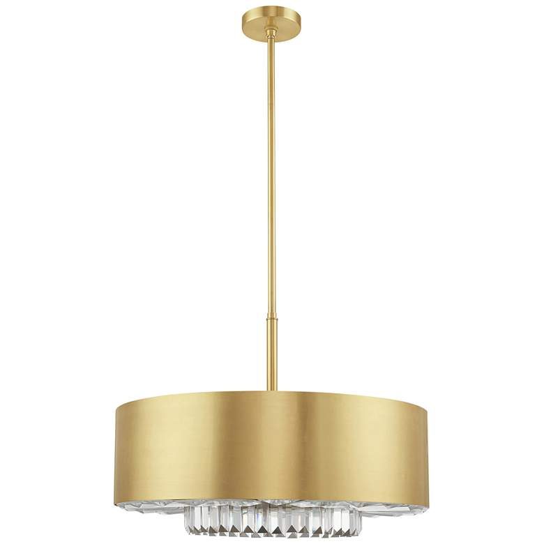 "Madison 24"" Wide Satin Brass Drum Pendant Light"