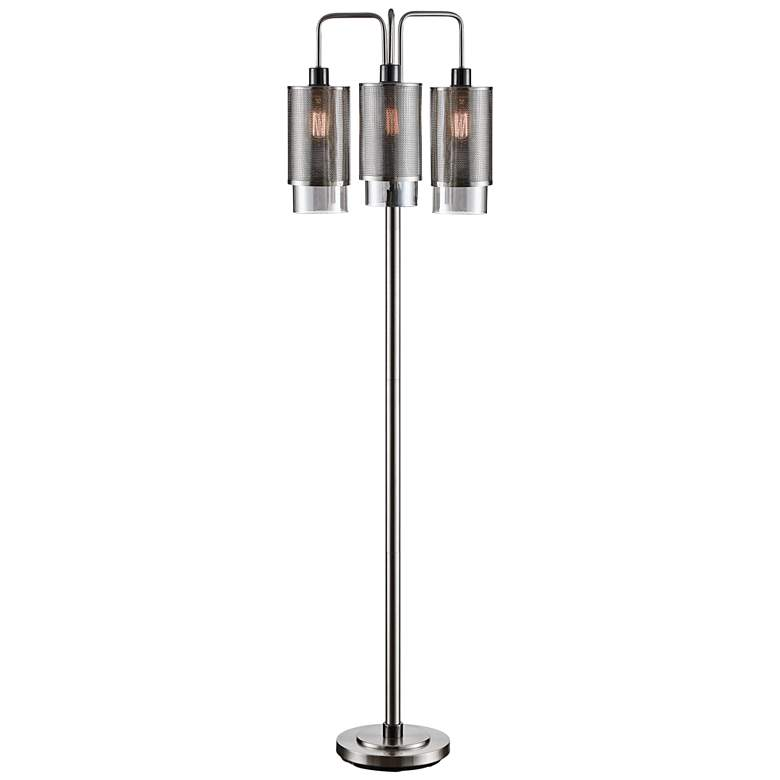 Crestview Collection Jett Brushed Stainless Floor Lamp
