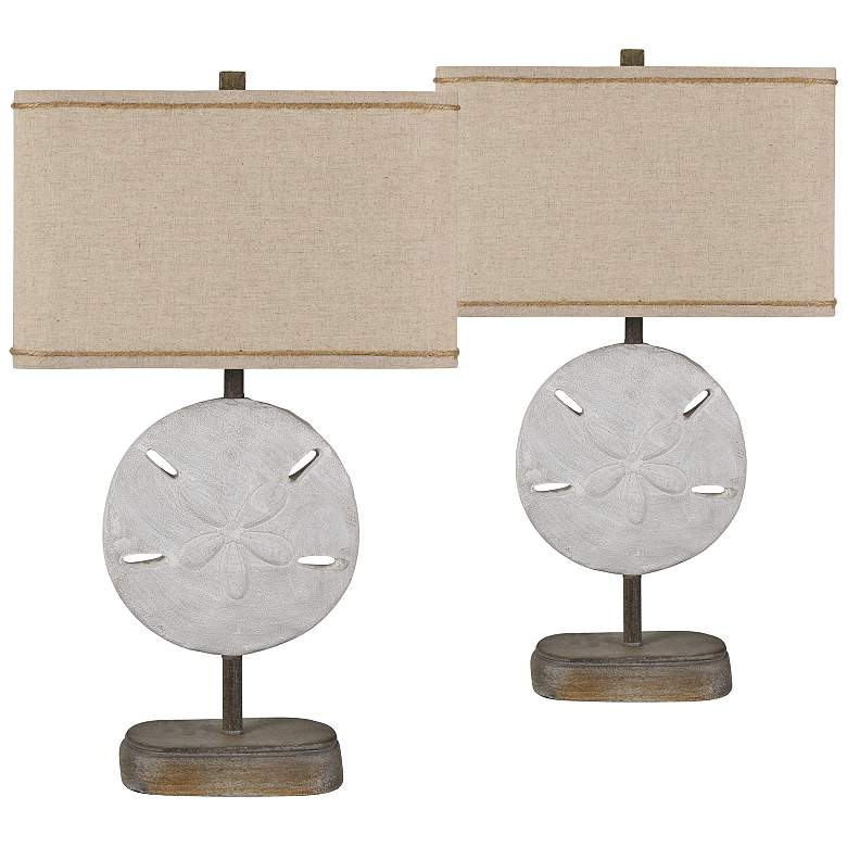 Sand Dollar White Sand and Wood Table Lamps