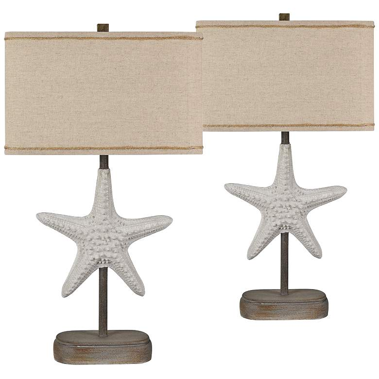 Starfish White Sand and Wood Table Lamps Set of 2