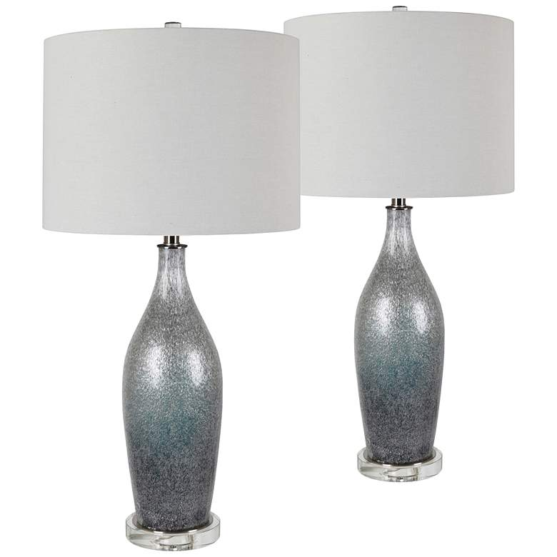 Remy Silvery Gray and Ice Blue Glass Table Lamps Set of 2