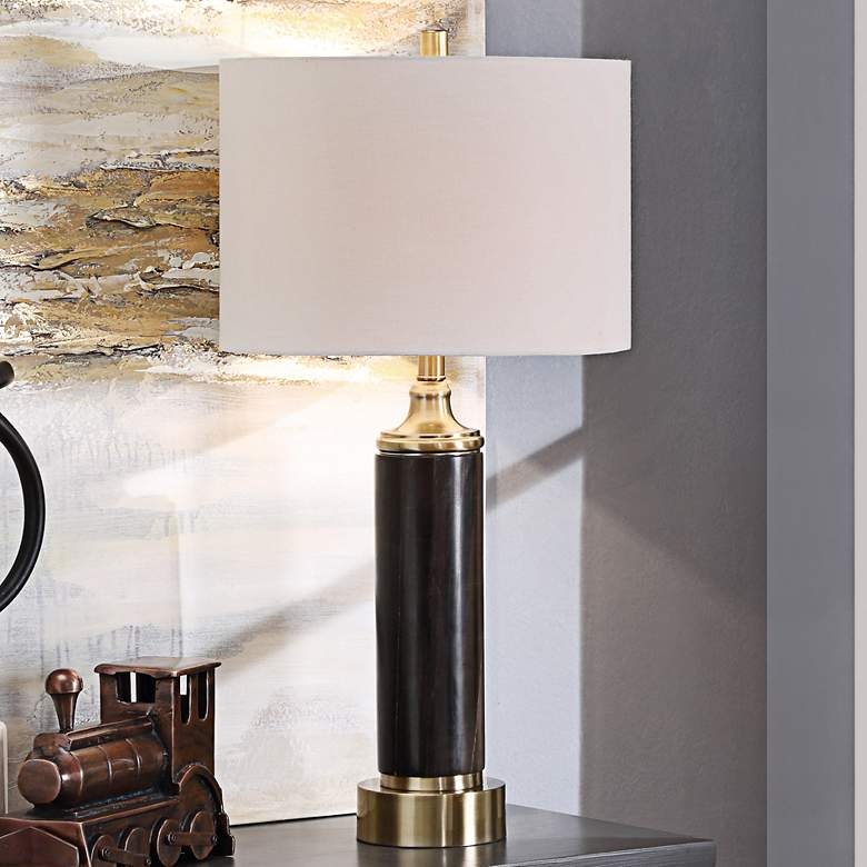 London Black Marble and Antique Brass Column Table Lamp