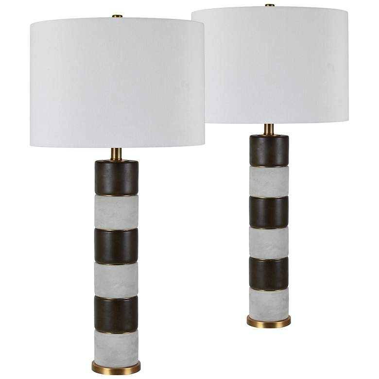 Aidan Mahogany and Concrete Table Lamps Set of 2