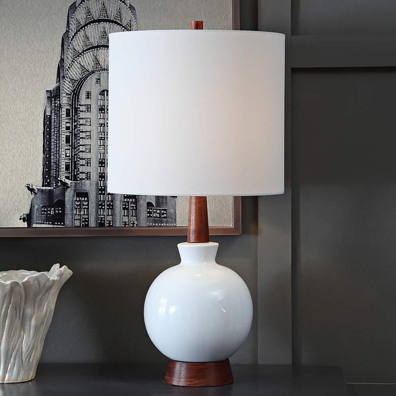 Carson White Ceramic and Mahogany Wood Table Lamp