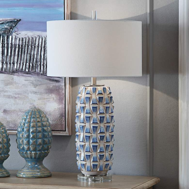Crestview Collection Hayes Blue and White Ceramic Table Lamp