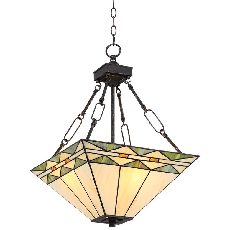 """Mission Square 16"""" Wide Art Glass and Bronze Pendant Light"""