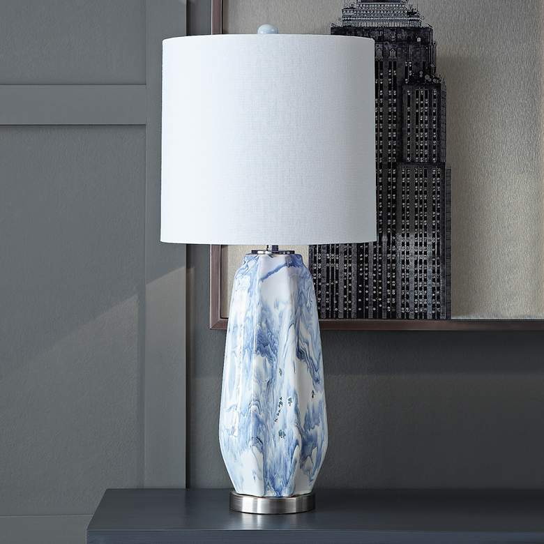 Crestview Collection Marley Blue - White Ceramic Table Lamp