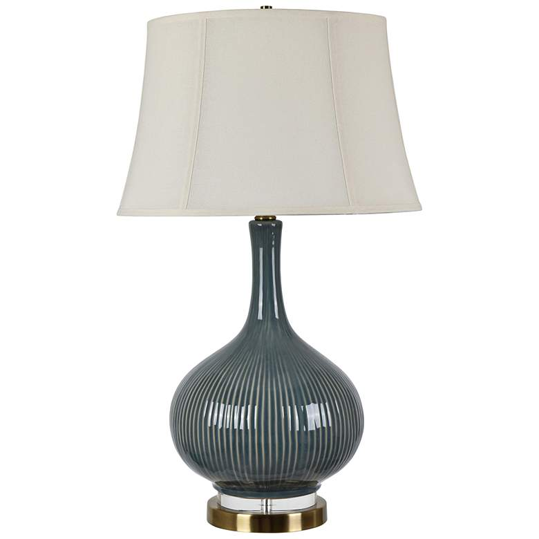 Crestview Collection Sawyer Teal Ceramic Vase Table Lamp