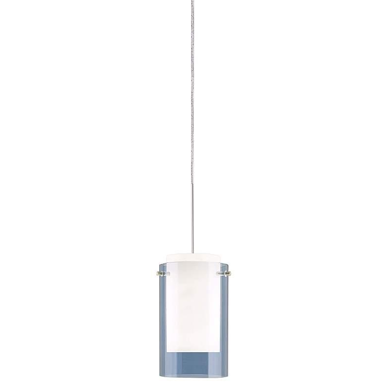 """Echo 4"""" Wide Steel Blue Glass Freejack Mini Pendant Light"""