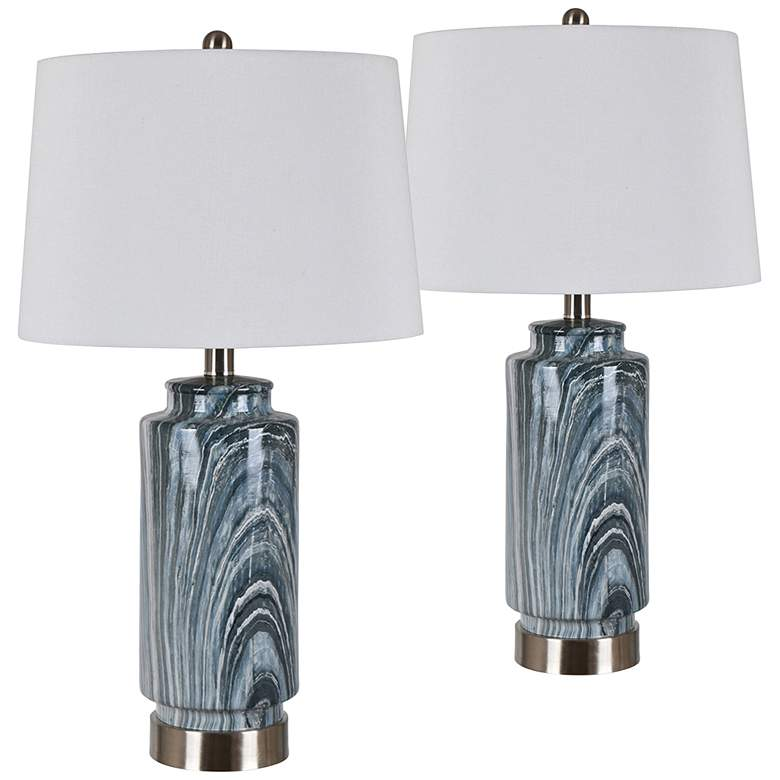 Brentwood Gray Green and Blue Marbled Table Lamps Set of 2