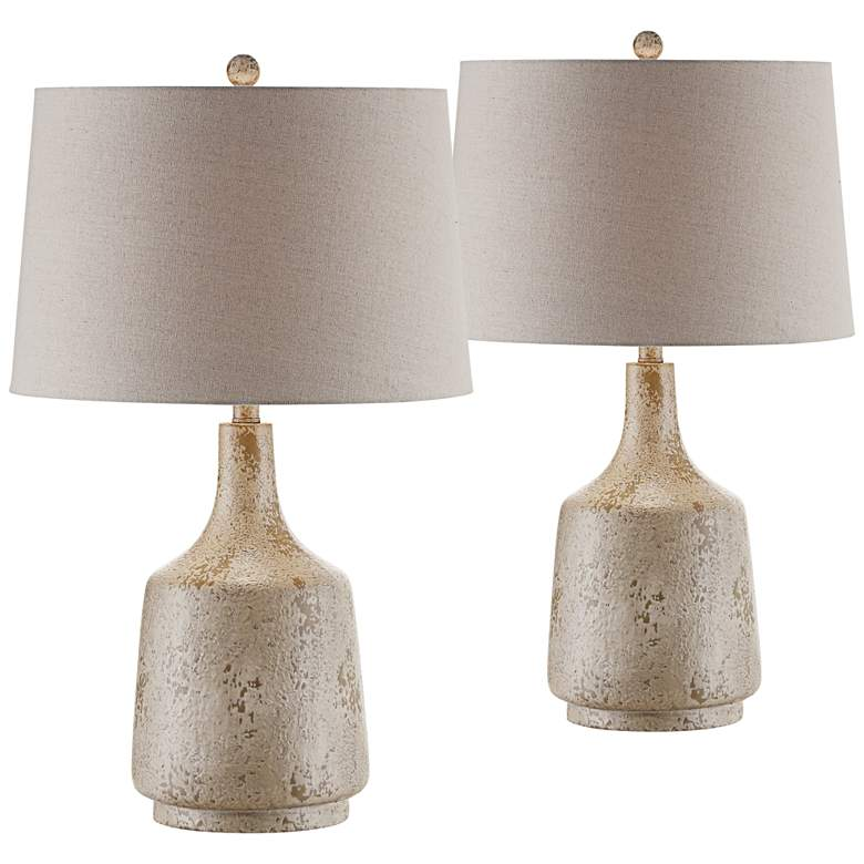 Crestview Collection Rhys Textured Stone Table Lamp Set of 2