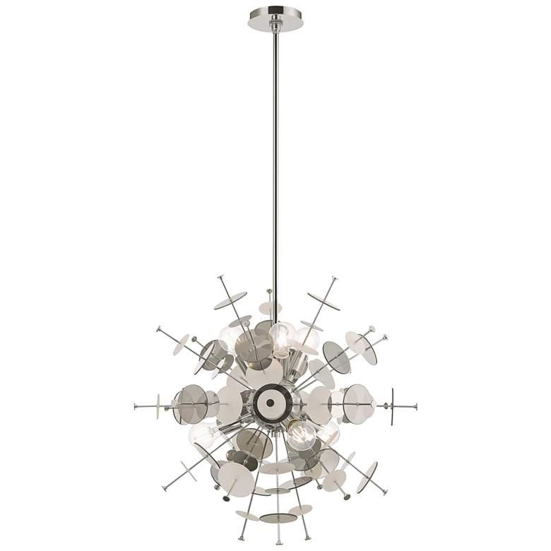 "Circulo 24"" Wide Polished Nickel Starburst Pendant Light"
