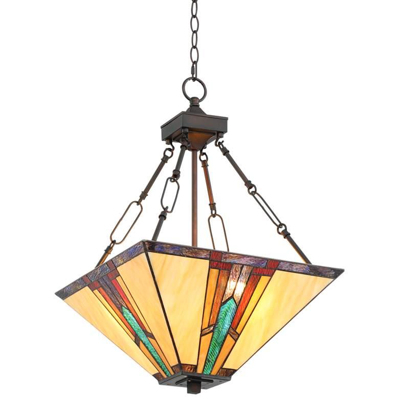 "Robert Louis Tiffany Ranier 16"" Wide Art Glass Pendant Light"