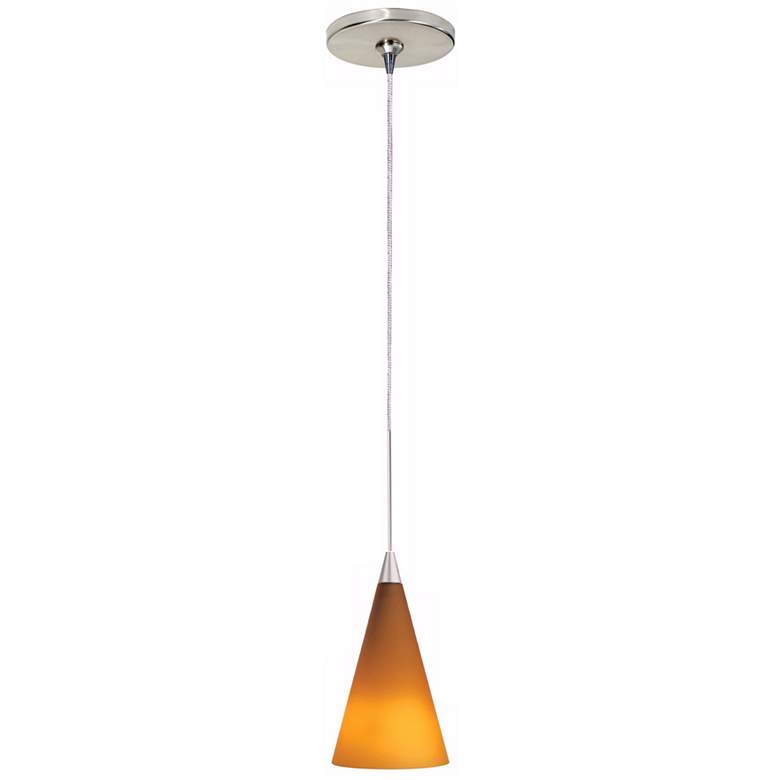 "Tech Lighting Cone 4"" Wide Amber Glass Freejack Mini Pendant"