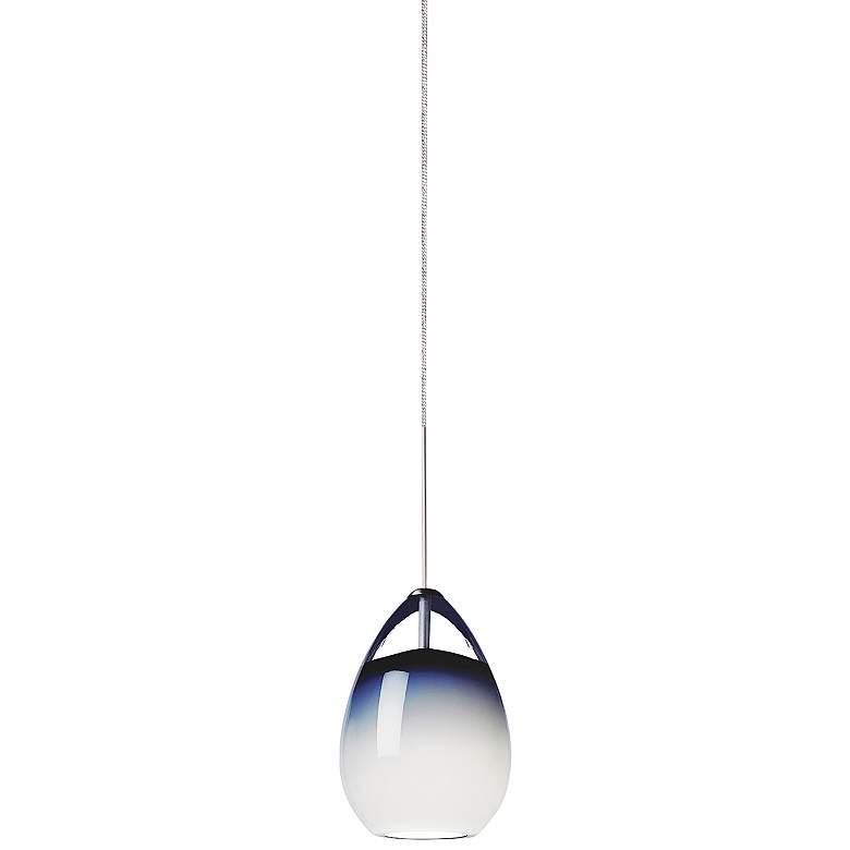 "Tech Lighting Alina 4"" Wide Blue Glass Freejack Mini Pendant"