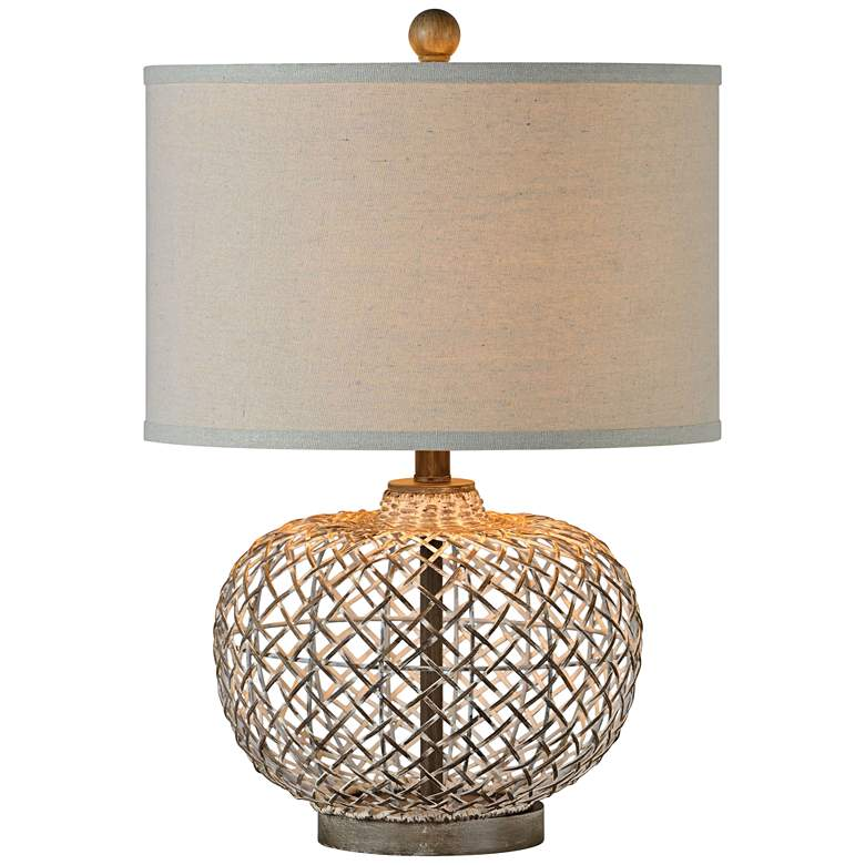 Forty West Reggie Gray Wash Rattan Table Lamp
