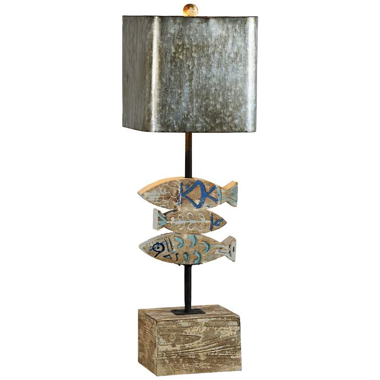 Oliver Rustic Washed Wood Finish Fish Table Lamp