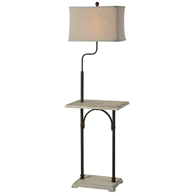 Max Cottage White and Rusty Floor Lamp with Table