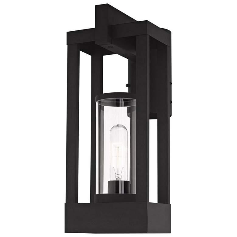 """Delancey 15 1/4"""" High Black Outdoor Lantern Post Light"""