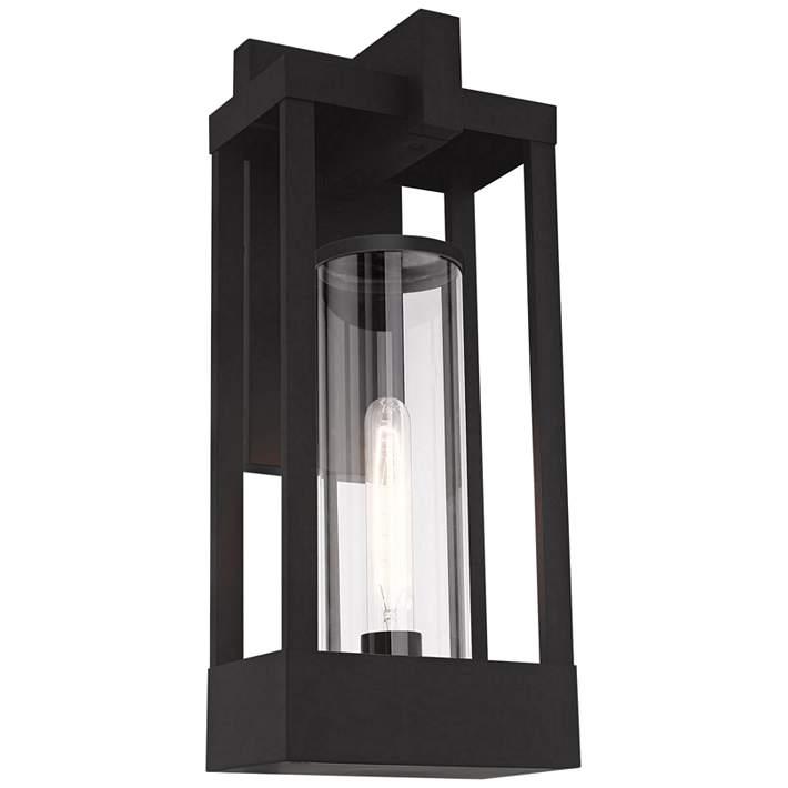 High Black Outdoor Lantern Wall Light