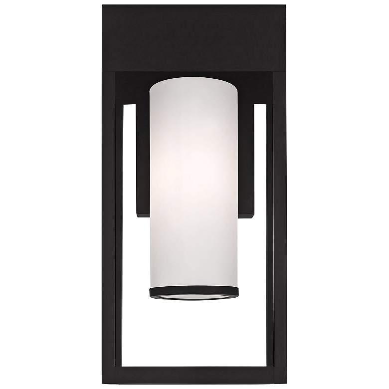 """Bleecker 17"""" High Black Outdoor Lantern Wall Light"""