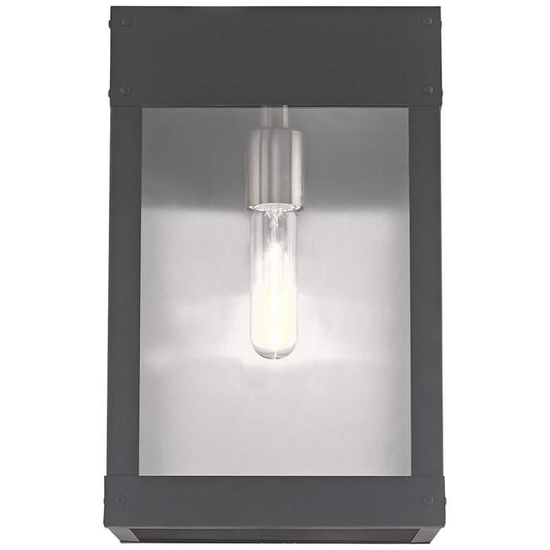 """Barrett 13""""H Scandinavian Gray Outdoor Lantern Wall Light"""