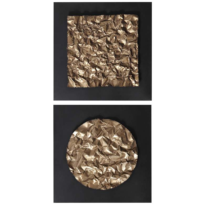 """Boaz 20"""" Square 2-Piece Gold and Black Metal Wall Art Set"""