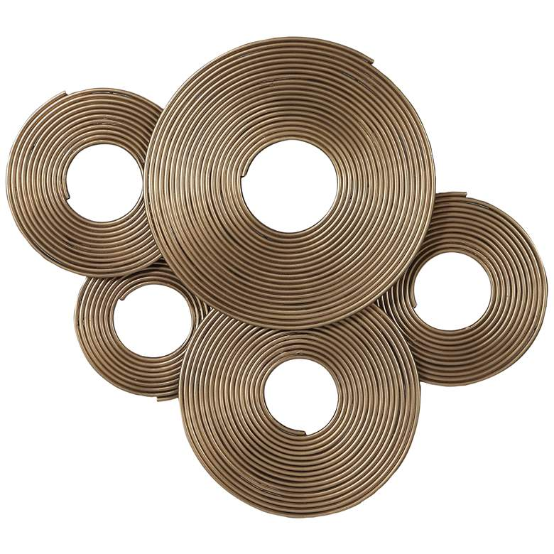 "Uttermost Ahmet 34 3/4""W Layered Rings Gold Metal Wall Art"