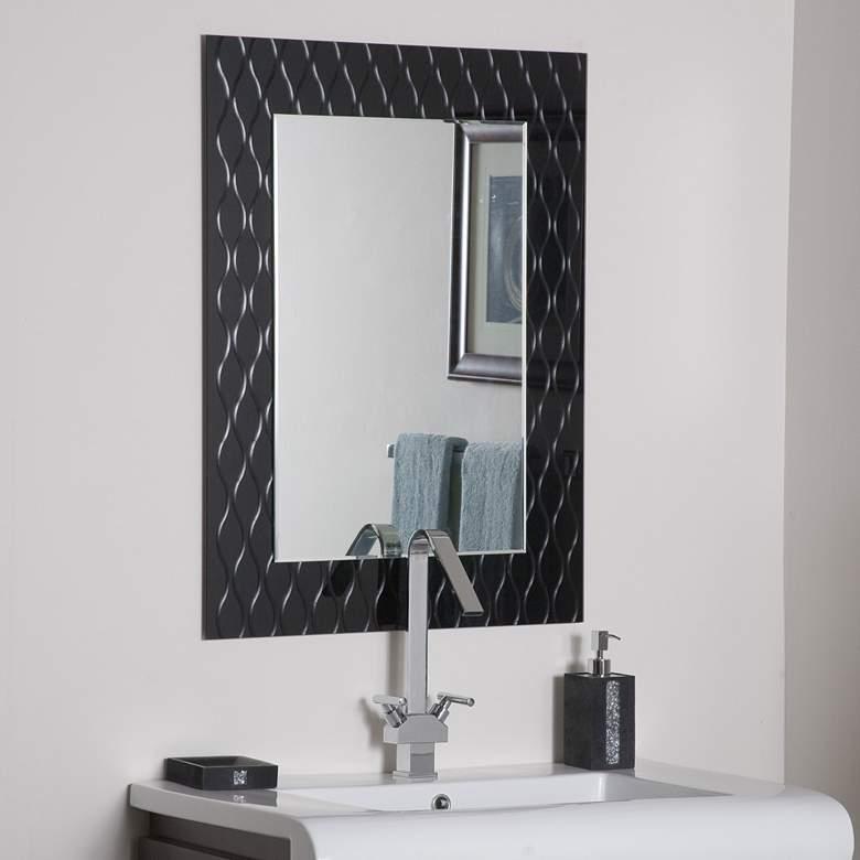 "Strands Black 23 1/2"" x 31 1/2"" Frameless Wall Mirror"