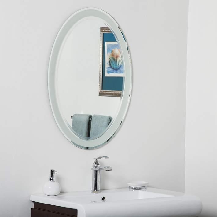 Oval Frameless Bathroom Wall Mirror