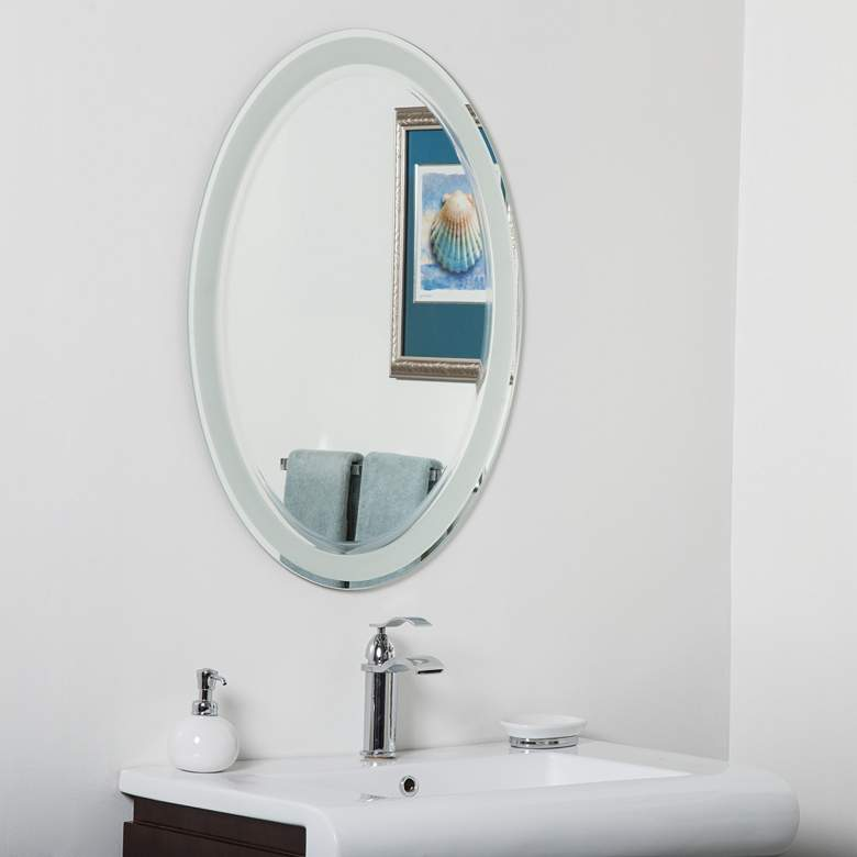 "Alden 23 1/2"" x 31 1/2"" Oval Frameless Bathroom Wall Mirror"