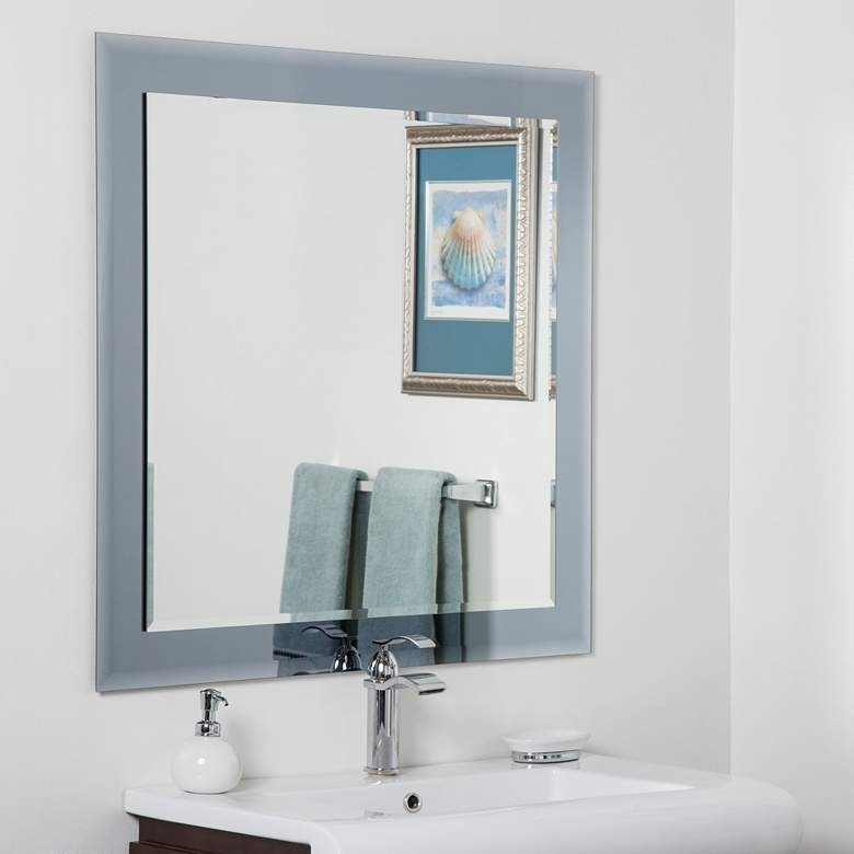 """Moscow Gray 35"""" Square Frameless Bathroom Wall Mirror"""