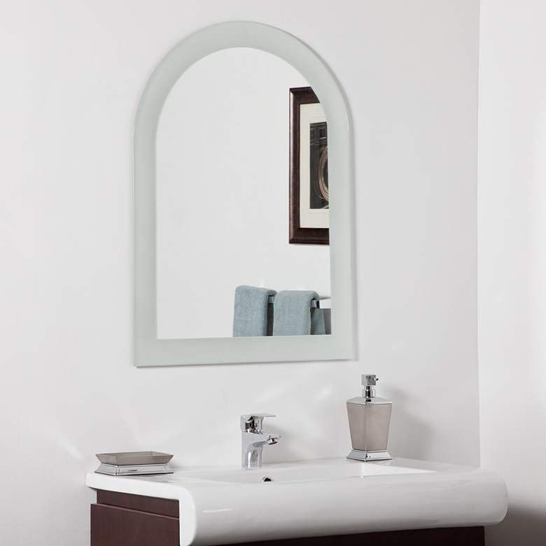"Serenity Sandblasted 23 1/2"" x 31 1/2"" Arch Top Wall Mirror"