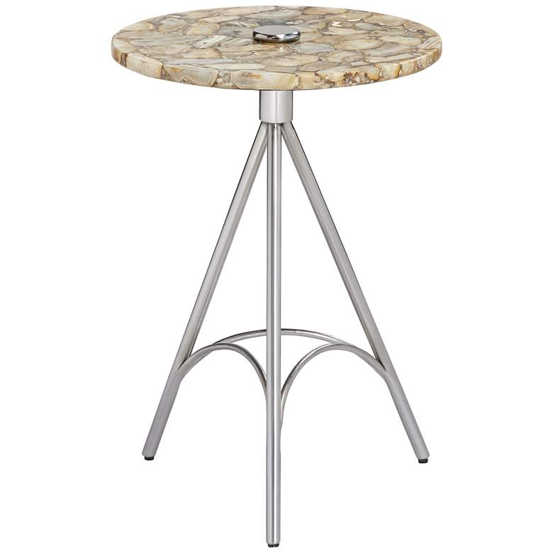 """Melly 17"""" Wide Agate and Chrome Round Accent Table"""