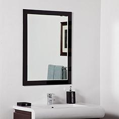 "Aris Black Glass 23 1/2"" x 31 1/2"" Bathroom Wall Mirror"