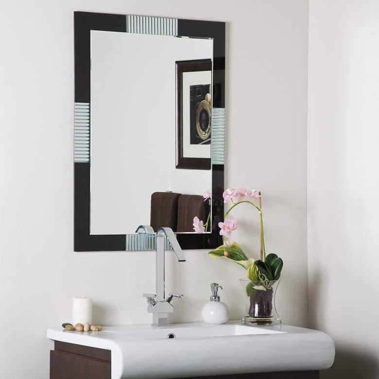"Francisco Pressed Black Glass 23 1/2"" x 31 1/2"" Wall Mirror"