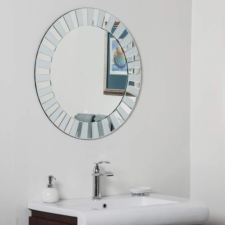 """Kiara White Glass 27 1/2"""" Round Frameless Bathroom Mirror"""