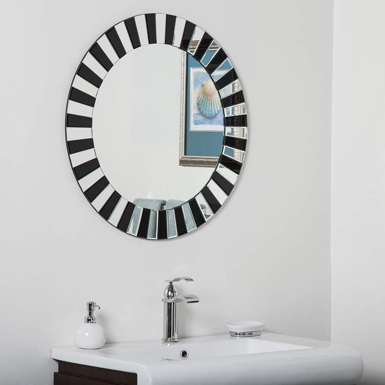 """Tiara Black Glass 27 1/2"""" Round Frameless Bathroom Mirror"""