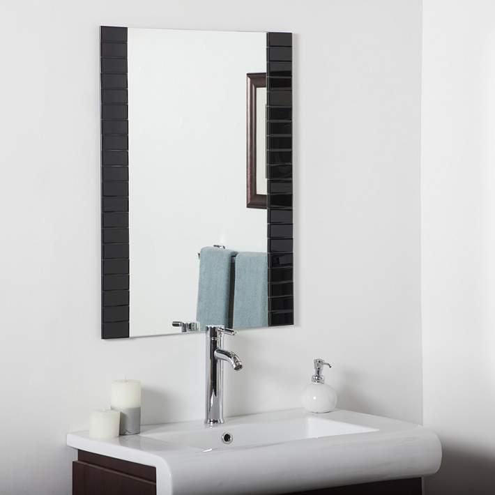 Beveled Black 23 1 2 X 31 Bathroom Wall Mirror