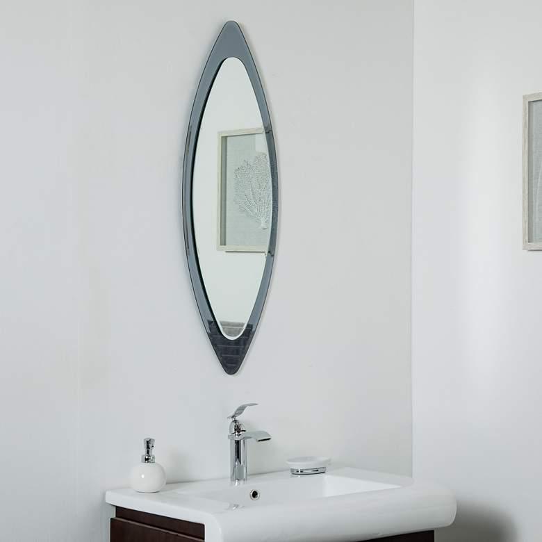 "Cat Eye Gun Metal 13 3/4"" x 39 1/2"" Frameless Wall Mirror"